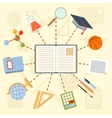 school supplies and tools around book on a vector image vector image