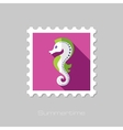 Sea Horse flat stamp with long shadow vector image vector image