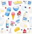 seamless pattern dairy products vector image
