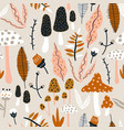 seamless woodland pattern with mushrooms vector image