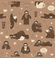 sloths drink coffee seamless pattern funny vector image