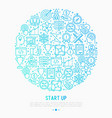 start up concept in circle with thin line icons vector image
