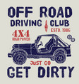 t-shirt design offroad driving club with suv car vector image