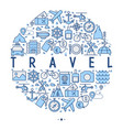 travel and vacation concept in circle vector image vector image