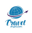 travel logo or label journey tour voyage symbol vector image