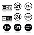 under 21 adults only warning sign vector image vector image