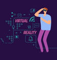 virtual reality concept with line social vector image vector image