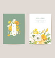 wedding spring flowers invitation card floral vector image