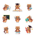 wise brown owl in various actions set cute bird vector image