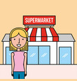 woman cartoon standing front supermarket vector image