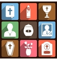 Funeral icons with long shadow vector image