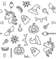halloween things and unicorn black outline vector image
