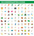 100 kindergarten icons set cartoon style vector image