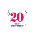 20 year anniversary template design vector image vector image