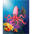 a big squid under sea with corals vector image vector image