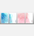 blue and pink watercolor background set vector image