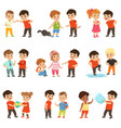 brave children characters confronting hooligans vector image vector image