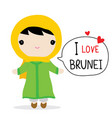 brunei women national dress cartoon vector image vector image