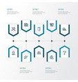 building outline icons set collection of wall vector image vector image