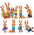 bunny in different actions vector image vector image
