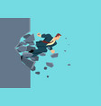 businessman breaking wall vector image vector image