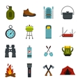 Camping equipment icons set flat style vector image vector image