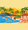 children at the summer beach vector image