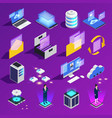 cloud office icon set vector image vector image