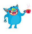 cute blue monster having a cup of coffee vector image