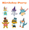 cute dancing animals on birthday masquerade party vector image vector image