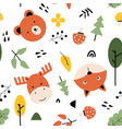 cute nature icons seamless pattern print design vector image