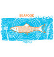 fish labelvintage style of menu on blue old paper vector image
