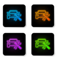 glowing neon car with screwdriver and wrench icon vector image