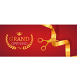 Grand Opening invitation banner Golden Ribbon cut vector image vector image