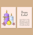 hand drawn easter gift card with candles and vector image vector image