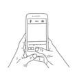 hand holds phone line art modern template vector image