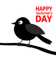 happy valentines day black bird silhouette on the vector image