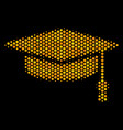 hexagon halftone graduation cap icon vector image