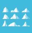 icebergs in ocean flat set vector image