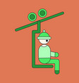 icon in flat design man on ski lift vector image