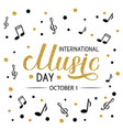 international music day gold glitter lettering vector image vector image