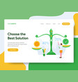 landing page template choose best solution vector image