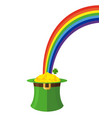 leprechaun hat and rainbow st patricks day in vector image vector image