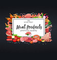 meat products on chalkboard vector image vector image