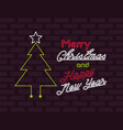 merry christmas card neon light vector image vector image