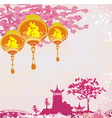 old paper with Asian Landscape and Chinese Lantern vector image vector image