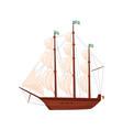old wooden ship sailing vessel marine transport vector image vector image