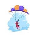 parachuting extreme sport falling flat character vector image