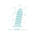 pisa tower icon on white vector image vector image