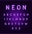 purple neon alphabet vector image